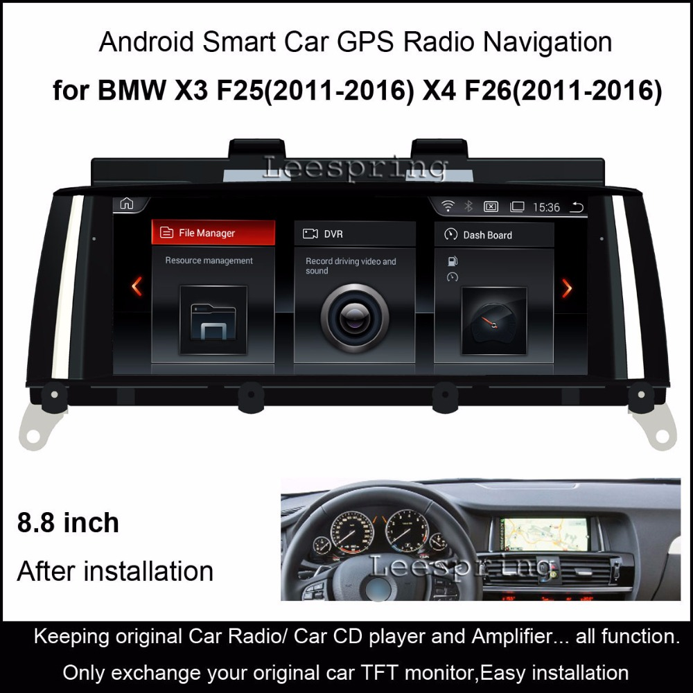 8.8Touch Android 4.4 Car Radio Audio Stereo for BMW X3 F25/BMW X4 F26 (2011-2016) GPS Navigation MP5 Bluetooth WiFi Mirrorlink цена