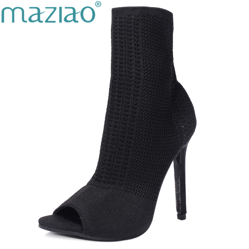 MAZIAO Women Shoes Sexy Summer Short Ankle Boots Ladies Fashion High Heels Woman Stretch Boots Thin Heels Fish Mouth