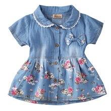 d2cfaec32ed Для девочек в цветочек Летнее платье принцессы джинсовое платье для  маленьких детей вечерние свадебные Нарядные платья одежды ос.