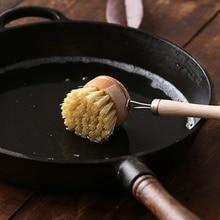 Natural Wooden Long Handle Pot Brush Kitchen Pan Dish Bowl W