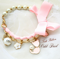 Envío libre ajustable lujo gato rosa perla y cadena giro collar de perro accesorios para mascotas