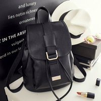 2016 Casual Women Backpack Female PU Leather Woman Backpacks Black Bagpack Bags For Teenager Girls Young