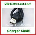 2pcs 12V 2A USB Cable Lead Charger Power Cable for Acer Iconia Tab A500 A501 A200 A100 A101 Tablet PC DC 3.0x1.1mm