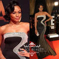 Red Carpet Black Long Mermaid Celebrity Dresses 2017 Luxury Heavy Bading Crystal Strapless Women Runway Party Evening Dress