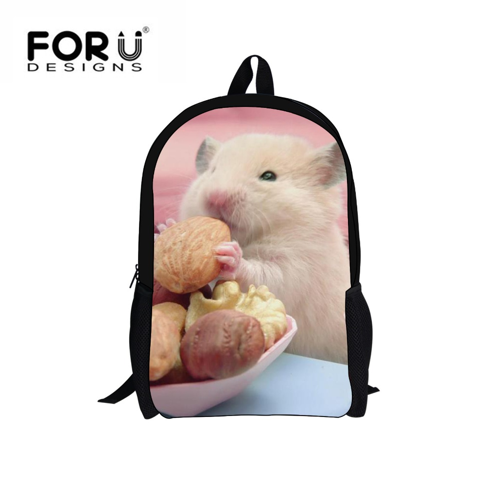 Forudesigns Kawaii хомяк школьный рюкзак Для женщин холст Сумки на плечо для подростков девочек мальчик милый SAC DOS Infantil Mochila