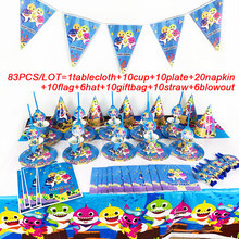 83Pcs Baby Shark Theme Cup Plate Napkin Kid Birthday Party Decoration Party Event Supplies Favor Items For Kids 10 People use