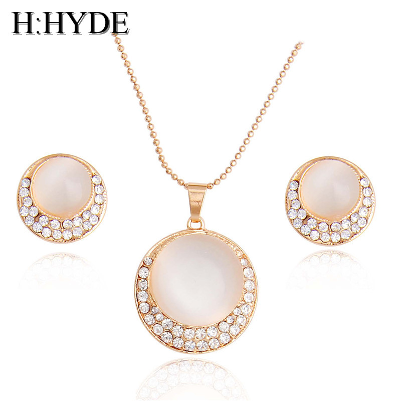 H:HYDE Luxury Womens/Girls Pink Opal Stone Jewelry Sets noble Austrian crystal Chain Necklace + Earrings Wedding Gift