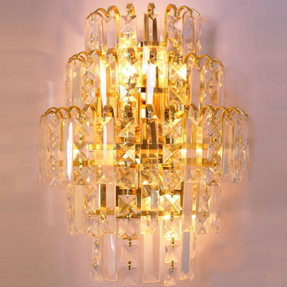 crystal chcrystal LED lamp E14 K9modern minimalist living room dining room bedroom dining foyer light segmented dimming W1133 minimalist s p e w