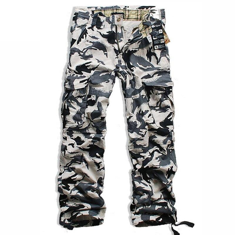 Mens Plateau Snow Area Military Camouflage Pants Men Cotton Casual Trousers Multi-pocket Cargo Pants Hip Hop pants