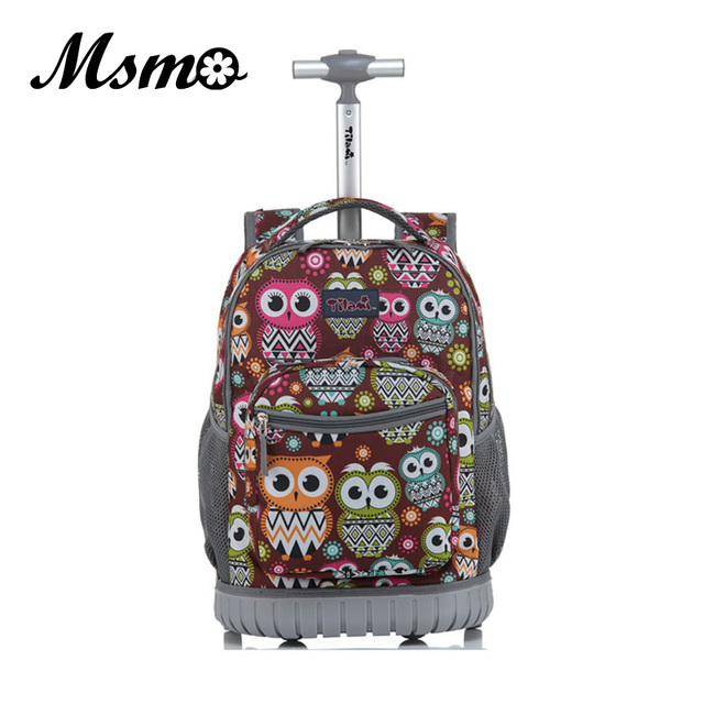 Msmo Rolling Backpack Children Trolley School Bags Laptop 18 Inch Multifunction Wheeled Bookbag Travel Bag For