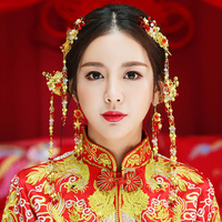 Red Beaded Flower Headpiece Chinese Style Hair Jewelry Sets Long Tassel Hair Sticks Headdress Ornaments Bridal Wedding Jewellery