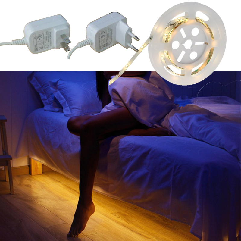 1.5M PIR Motion Sensor LED Night Light Activated Bed Light Waterproof SMD 3528 Flexible LED Strip Tape Closet Cabinet Lamp led strip lights warm white waterproof motion activated sensor timer bed night light for kids bedroom closet cabinet kitchen