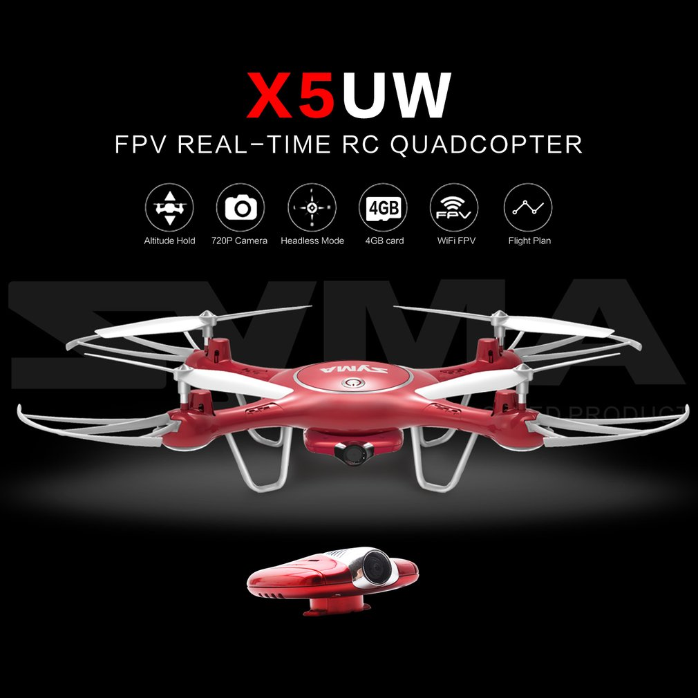 Syma X5UW WiFi FPV RC Drone with 720P Camera Altitude Hold Headless Mode 3D Flip Flight Plan RC Drone Quadcopter with 4GB CardSyma X5UW WiFi FPV RC Drone with 720P Camera Altitude Hold Headless Mode 3D Flip Flight Plan RC Drone Quadcopter with 4GB Card