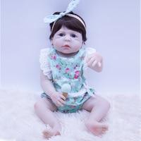 New design blue big eyes Silicone Reborn Baby Doll Girl modle Toys hard bady Fashion Doll Lifelike Babies Boneca Bebe Reborn kit