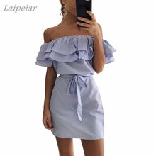 2018 New Summer Dresses Fashion Women Cute Casual Sexy Slash Neck Off Shoulder Ruffles Stripe Cotton Linen Mini Dress Vestidos