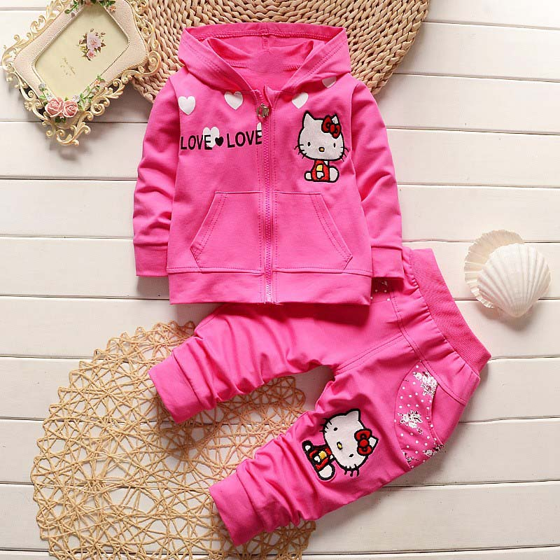 100% cotton hello kitty kids baby pajamas 2 pieces clothes sets long sleeved top lleopard pants roupas de bebe Springs Casual Baby Girls Baby Sets Cotton Hello Kitty Hooded Zipper Coats+Pants kids Clothing Sets Suits
