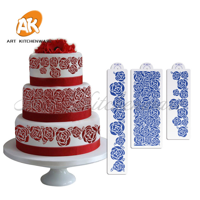 3pcs Rose Cake Stencil For Wedding Cake Decorating Supplies Tools