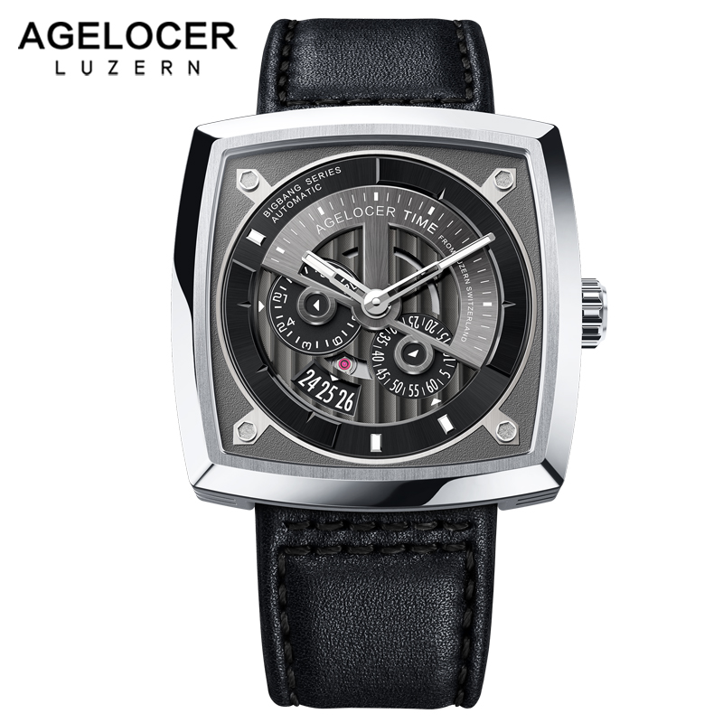 AGELOCER Luxury Watches Swiss Brand Men's Analog Automatic Watch Sport Wrist Watch Power Reserve Mechanical Punk Style 5602A1
