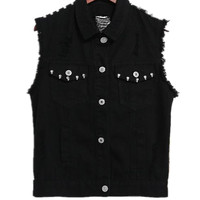 Women Denim Black White Rivet Denim Vest Cowboy Waistcoat Sleeveless Jean Jacket