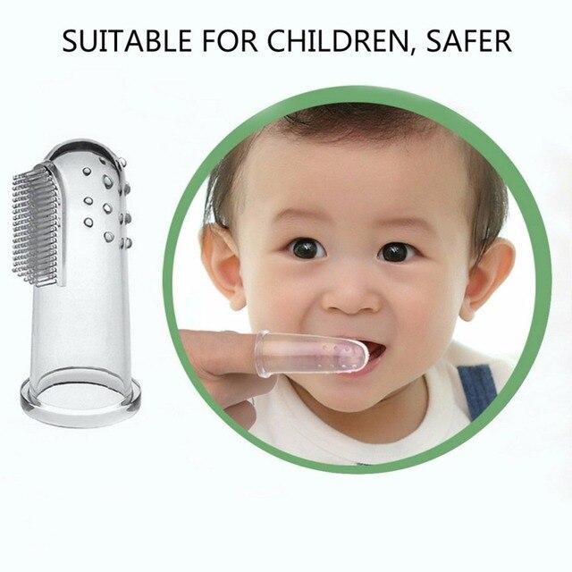 Mini tamaño cepillo de dientes de dedo pequeños artículos de bebé niños dientes de masaje suave silicona bebé dedo cepillo de dientes