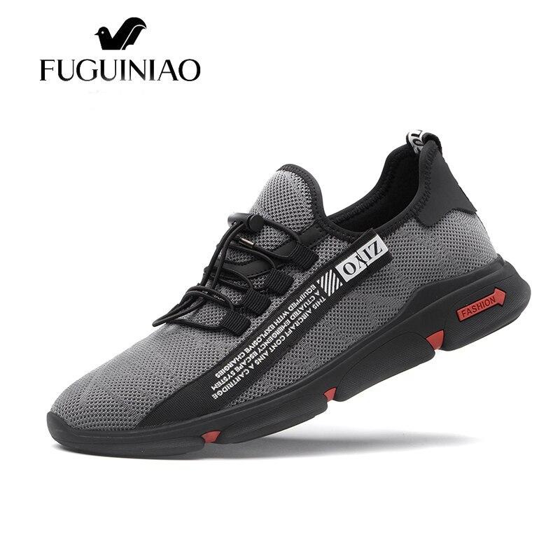 Da Zapatos Masculino Adulto Tênis Sapatos New Tenis Zapatillas Black grey Calçado Fly Moda Homem Homens Tecelagem Casuais Formadores Flats Hombre x1fFAPq
