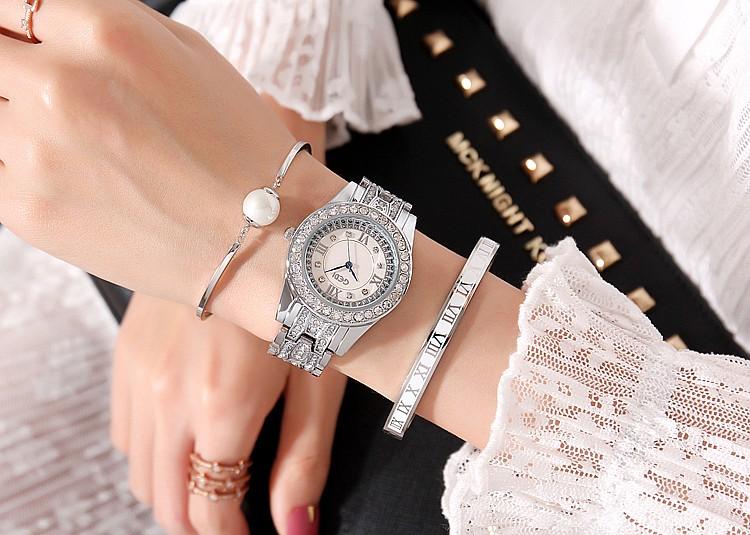 montre femmes or Bracelet décontracté ovale cristal