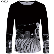KYKU Tiger T shirt Men Long sleeve Black Anime City 3d T-shirt Harajuku Funny shirts Hip hop Rock Mens Clothing 2018