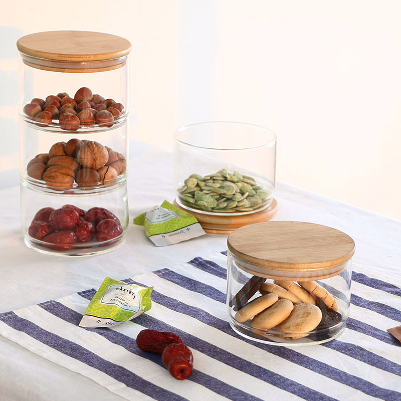 1PC Free Combination Food Storage Glass Jar Kitchen Storage Bottles Sealed Cans with Bamboo Cover Glass