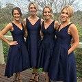 0abc91b2db Lo nuevo Azul Marino Dama de Honor Vestidos de Boda Vestido de Fiesta Corto  Satén Cremallera