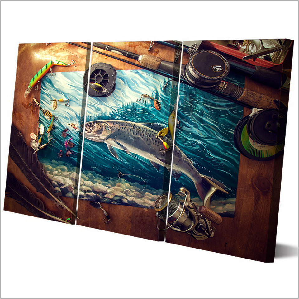 Fishing Rod Tuna Blue Ocean Canvas Wall Art  1
