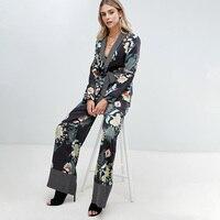 Женский комплект из двух предметов с черным цветком, Осень-зима 2018, цветочный жакет, широкие брюки, Женская богемная одежда, большие размеры