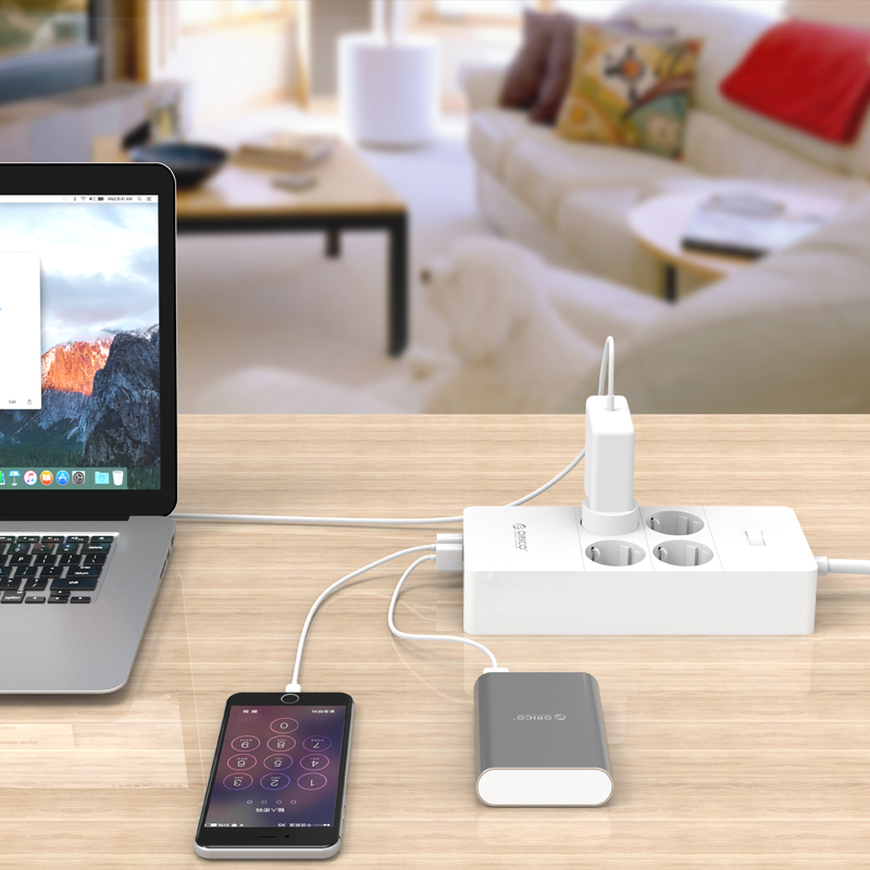 Image 5 - ORICO Surge Protection USB Charger Home appliances 4 AC EU Power  Strip1.5 Meter Power Cord with 5 Port USB Charging Stationusb  chargerpower cordcharger charger