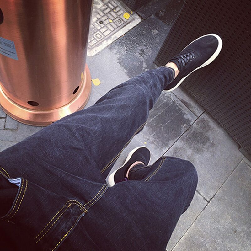 2016 new jeans male Korean zipper crotch pants washed across the black male character Chunchao