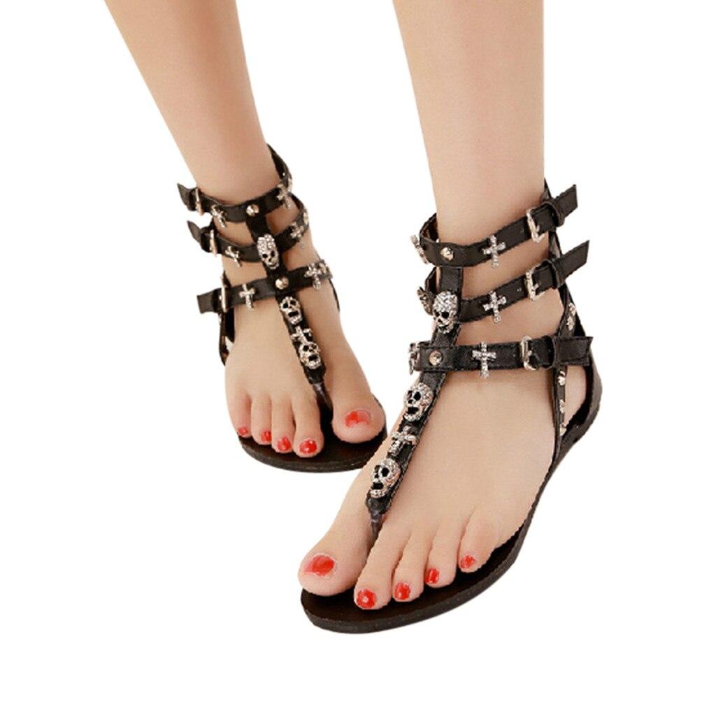 Muqgew Zwart Wit Vrouwen Bohemen Clip Teen Slippers Boho Menselijk Skelet Lage Wig Strand Sandalen 35-40 Size #24 Helder In Kleur