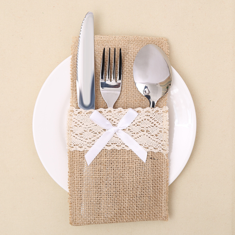 Us 0 82 8 Off 1pcs Lace Design Burlap Silverware Holder Cutlery Rustic Wedding Table Decor Jute Knife Fork Pouch Cover Bags In Party Diy