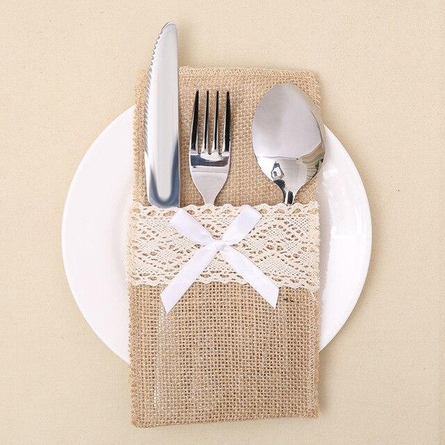 1pcs Lace Design Burlap Silverware Holder Cutlery Rustic Wedding Table Decor Jute Knife Fork