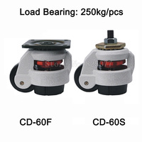 4PCS CD 60F S Level Adjustment MC Nylon Wheel And Aluminum Pad Leveling Caster Industrial Casters
