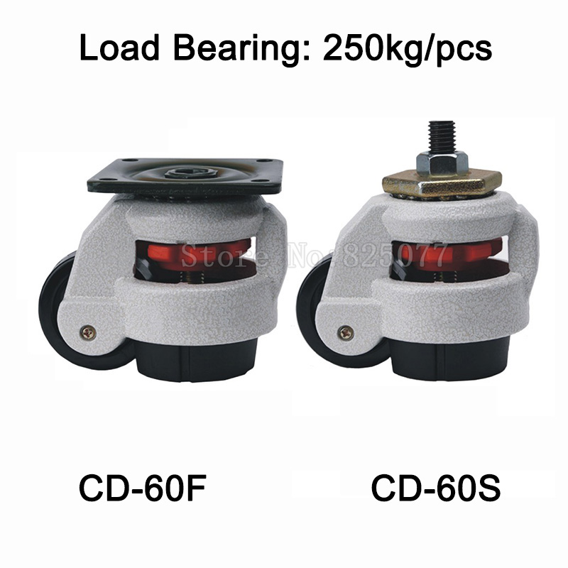 4PCS CD-60F/S Level Adjustment MC Nylon Wheel and Aluminum Pad Leveling Caster Industrial Casters Load Bearing 250kg/pcs JF1515 4pcs cd 80t load bearing 500kg pcs level adjustment nylon wheel and triangular plate leveling caster industrial casters jf1563