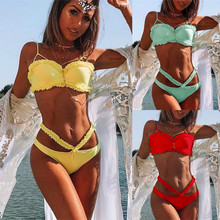 Women Low Waist Swimsuit Push Up Swimwear Solid Ruffle Bikini Set Beach Wear Bathing Suit women bikini set split swimsuit beach wear push up low waist swimwear bathing suit sexy women summer suits