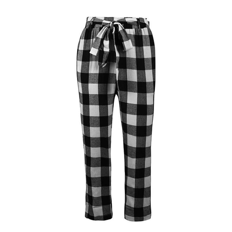 2019 New Summer Women Pants Plaid Check Printed High Elastic Waist Bandage Belt  Pockets Vintage Casual Trousers Pantalon Mujer
