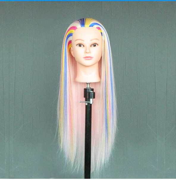 Colorful Hair Hairdressing Doll Heads Hairstyles Training Mannequin Head For Hairdressers To Practice