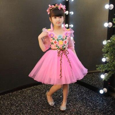 Free ship children's girls fairy flowers princess dress waist vine cosplay stage Halloween dress