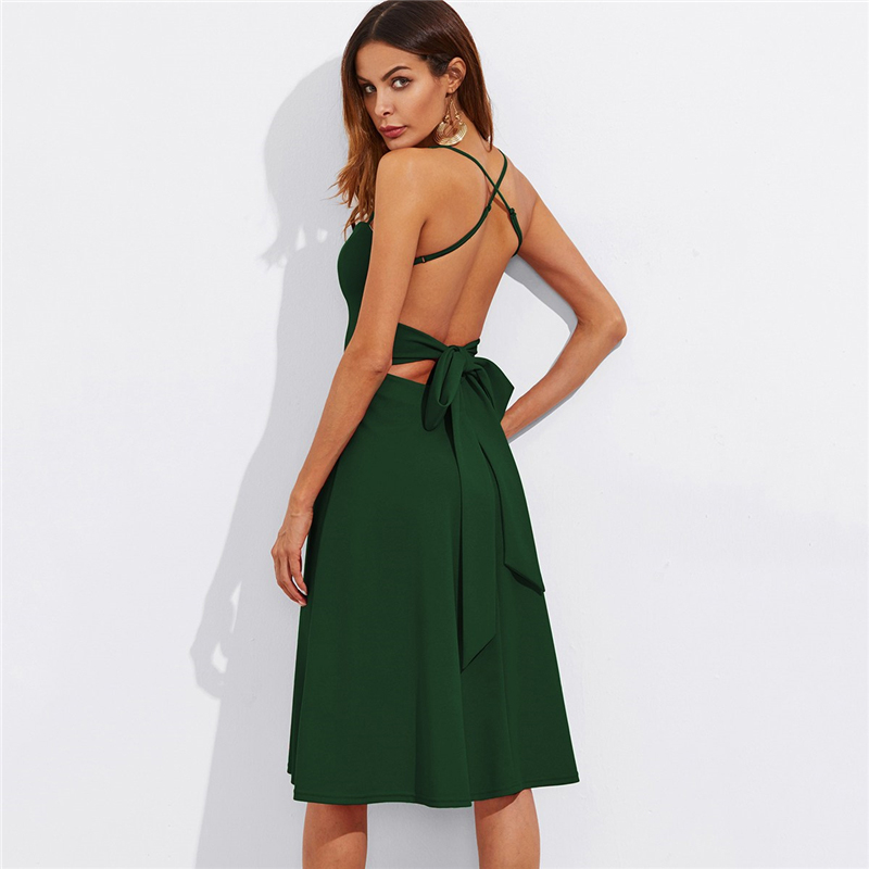 COLROVIE Crisscross Belted Back Cut Out Fitted & Flared Dress Red Spaghetti Strap Sleeveless Sexy A Line Party Dress Green 14