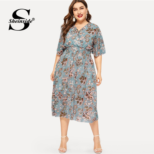 Sheinside Plus Size Elegant Floral Print Chiffon Dress Women 2019 Summer V Neck Elastic Waist Dresses Ladies Straight Midi Dress