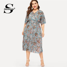 Sheinside Plus Size Elegant Floral Print Chiffon Dress Women 2019 Summer V Neck Elastic Waist Dresses Ladies Straight Midi Dress(China)