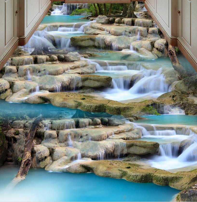 3D Flooring waterfalls Wallpaper 3D Floor Vinyl landscape water Self-adhesive Waterproof pvc Wallpaper high quality 3d flooring vinyl custom 3d floor bathroom landscape non slip wear thickend self adhesive wallpaper