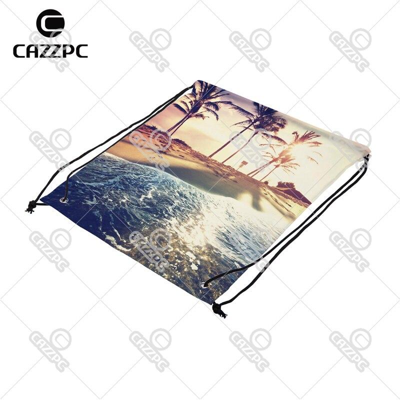 Summer Style Tropical Beach Seaside of Caribbean Print Custom Nylon Fabric Drawstring Shoes Storage Dust Bag Pack of 4