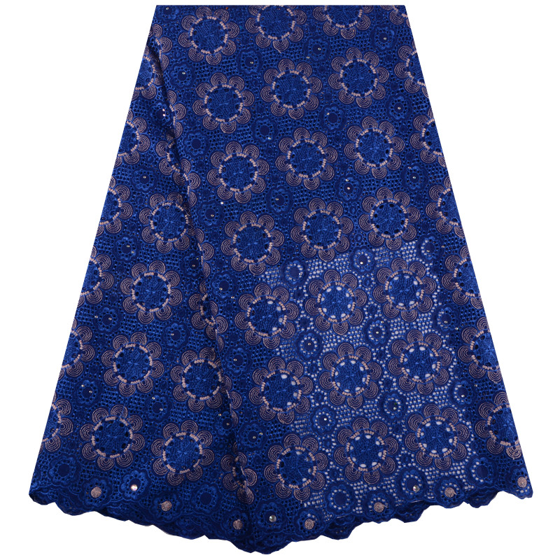 Blue Color African Swiss Voile Lace High Quality Wedding Lace African Fabric 5 Yards 100 Cotton