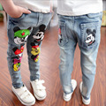 2016 New Spring Autumn Boys Girls Jeans Casual Cartoon  Children Jeans Pants Elastic Waist  Baby Kids Clothing 2-7 Years