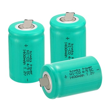 Anmas power! high quality 3 pcs a set Ni-Cd 36g 4/5 SubC Sub C 1.2V 1400mAh Rechargeable Battery with Tab - Green image